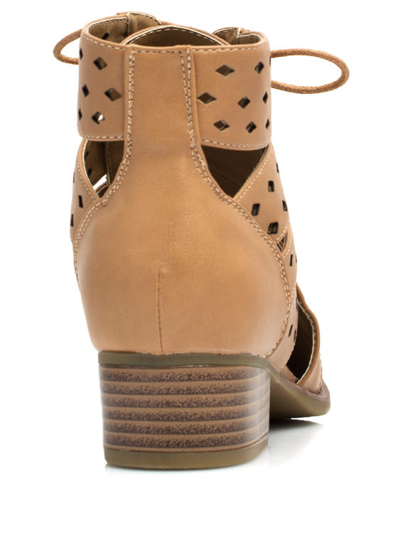 On My Level Laser Cut-Out Booties TAN