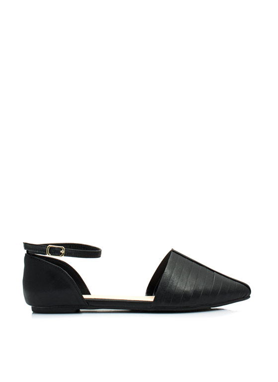 Slitting Pretty Pointy D'Orsay Flats BLACK