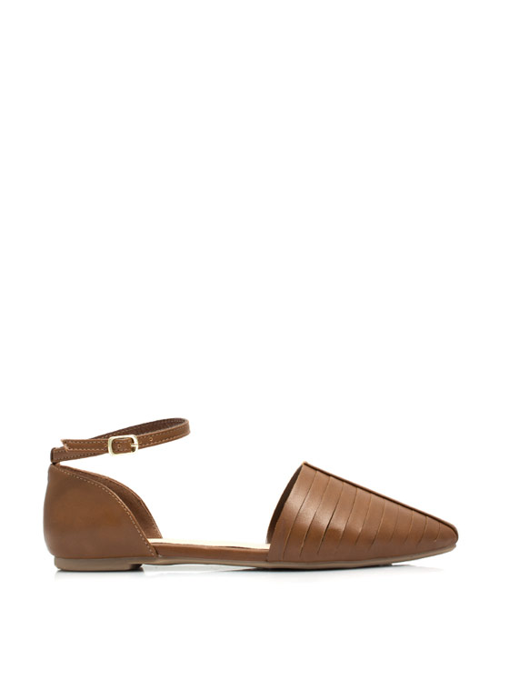 Slitting Pretty Pointy D'Orsay Flats CHESTNUT