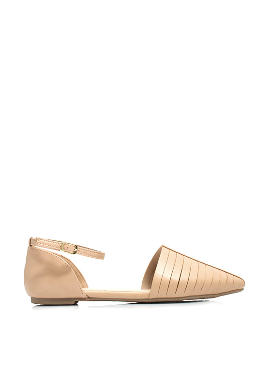 Slitting Pretty Pointy D'Orsay Flats NUDE