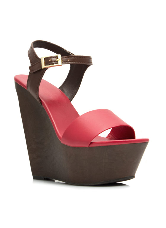 Angular Faux Wood Strappy Wedges RED