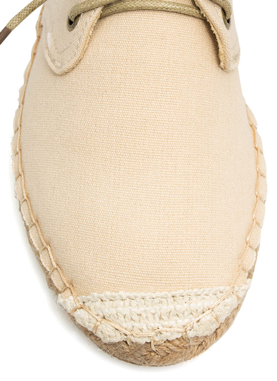 On Your Toes Oxford Espadrille Flats BEIGE