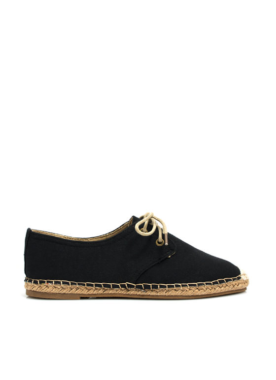 On Your Toes Oxford Espadrille Flats BLACK