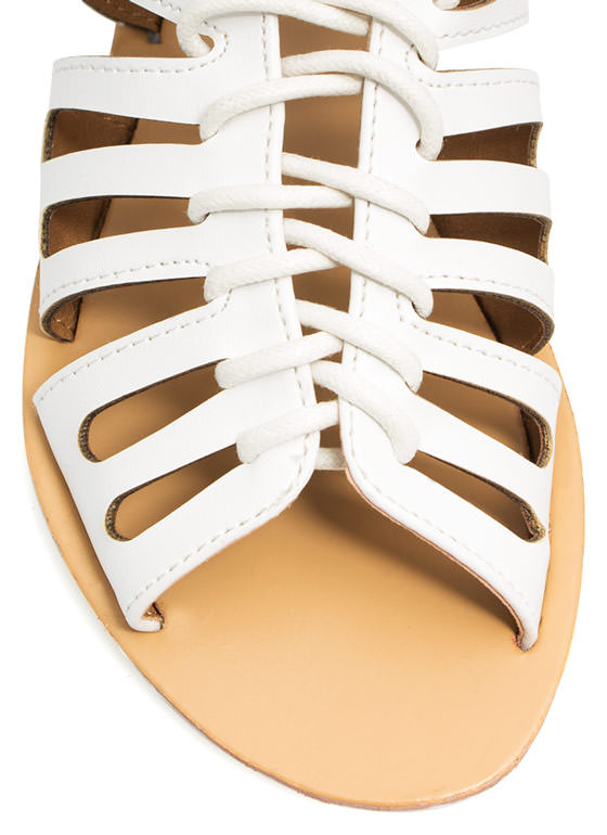 Slit Through Laser Cut-Out Sandals WHITE