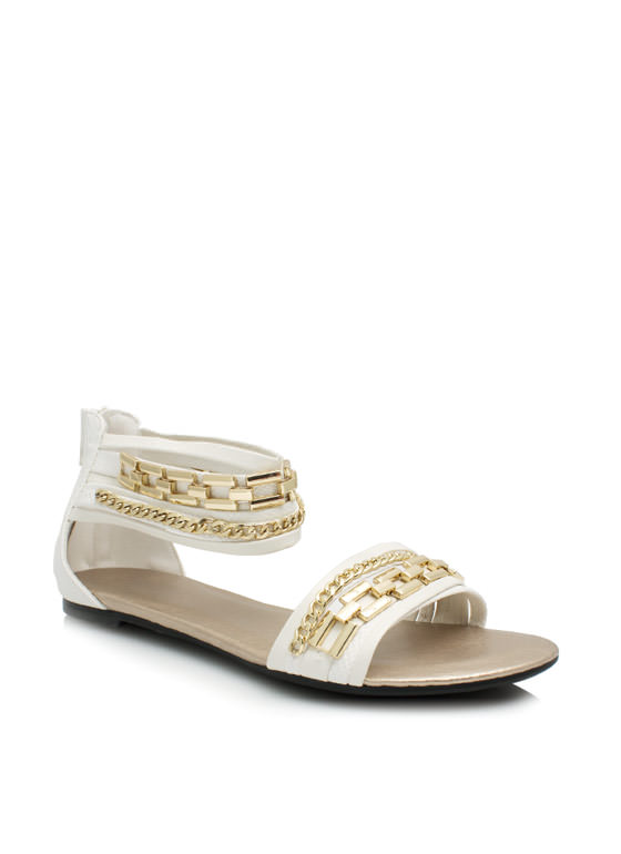 Chain Game Snakeskin Sandals WHITE