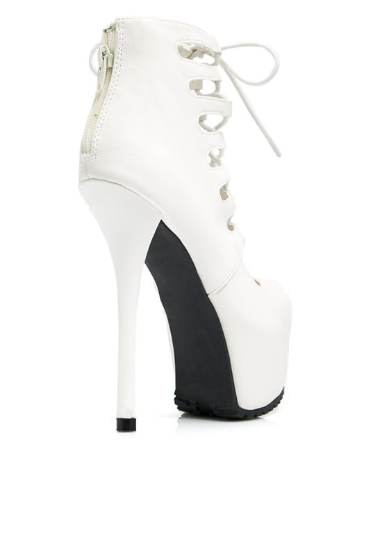 Dare Devil Faux Leather Platform Heels WHITE