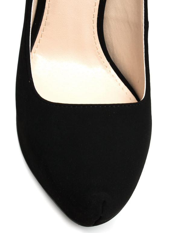 Sleek For Itself Faux Nubuck Heels BLACK