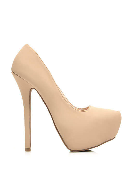 Sleek For Itself Faux Nubuck Heels NUDE