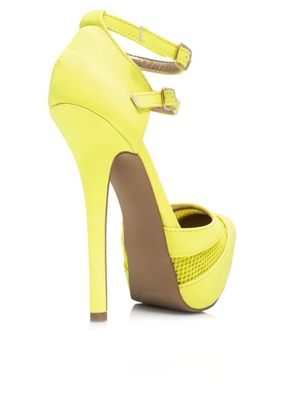 Slip Thru The Net Strappy Platforms YELLOW