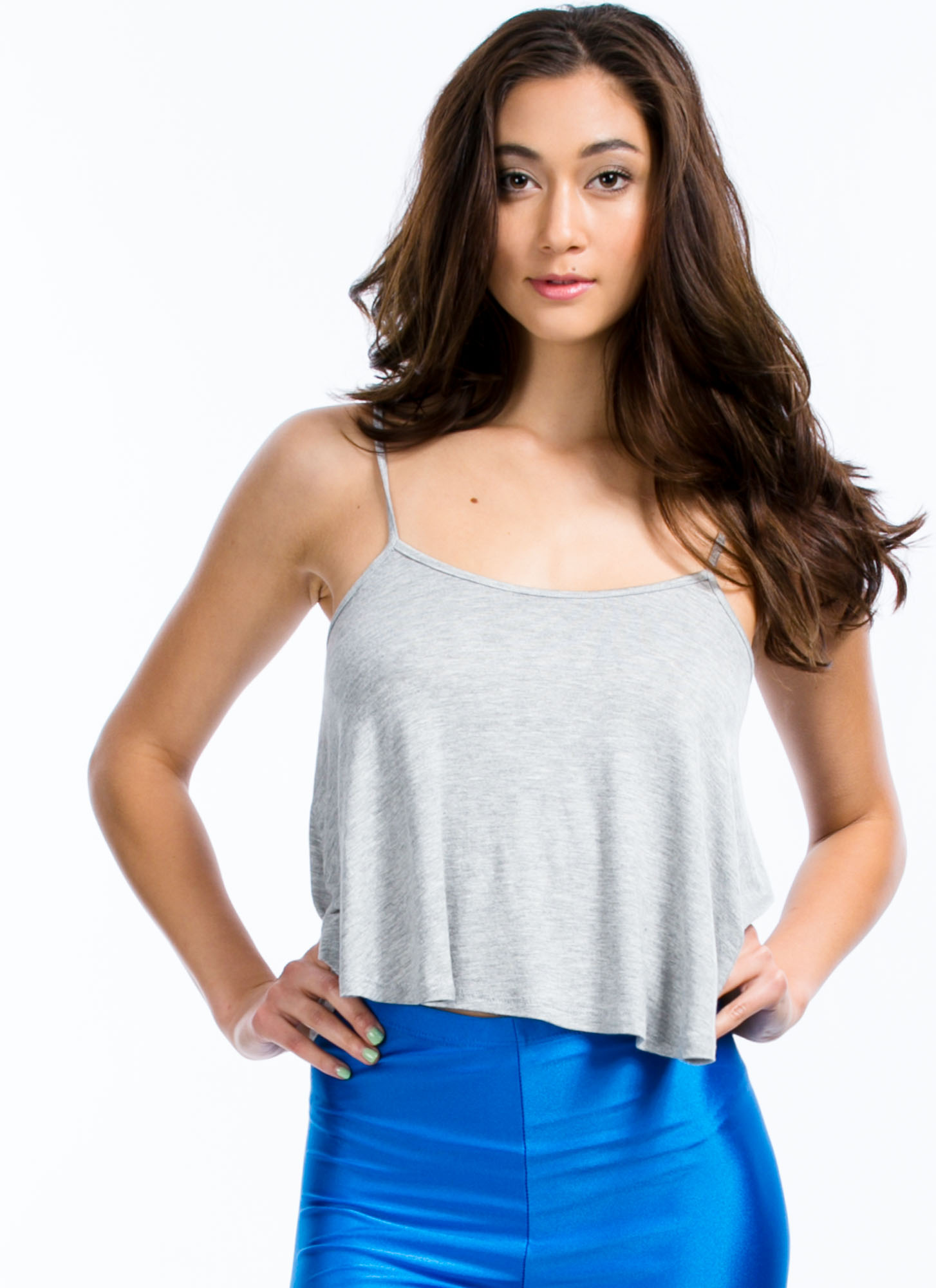 Flows As You Go Cropped Tank HGREY