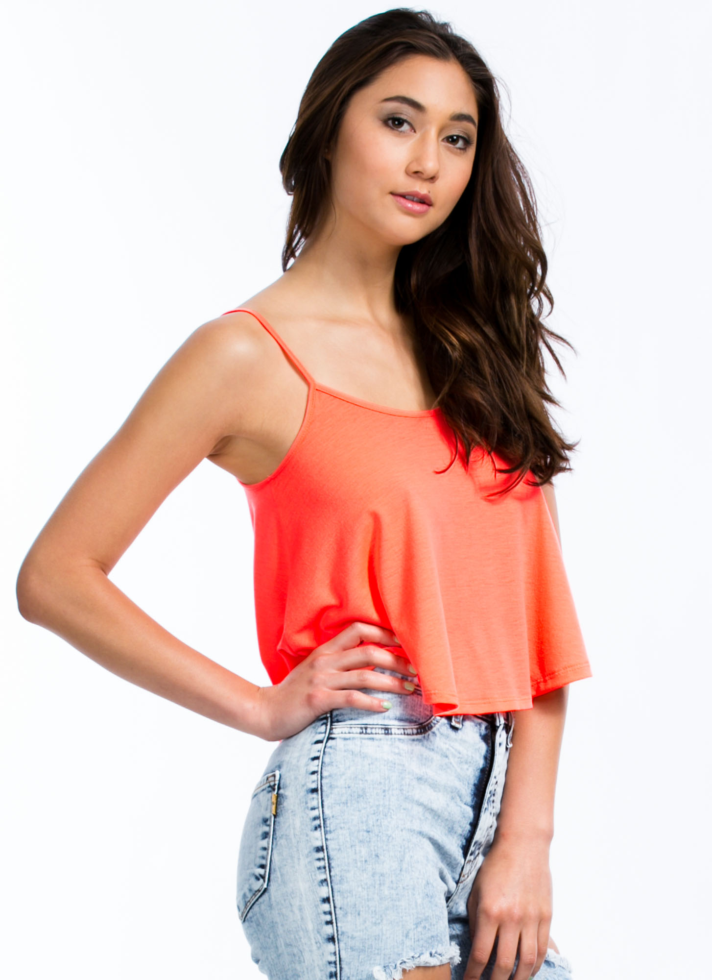 Flows As You Go Cropped Tank NEONCORAL