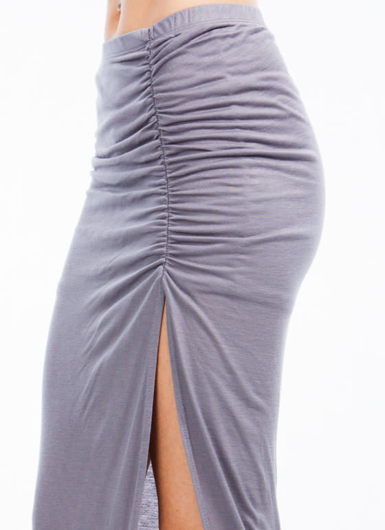 Feel The Ruche Asymmetrical Skirt HGREY