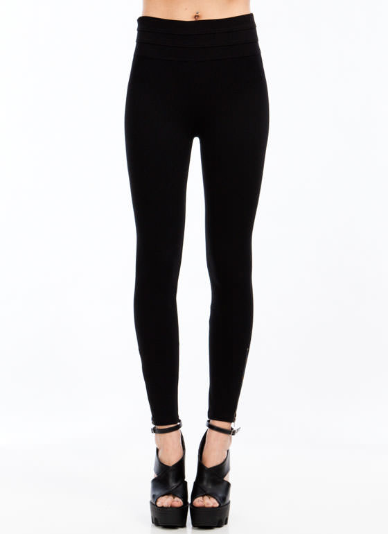 Zip Along Paneled Ponte Skinny Pants BLACK