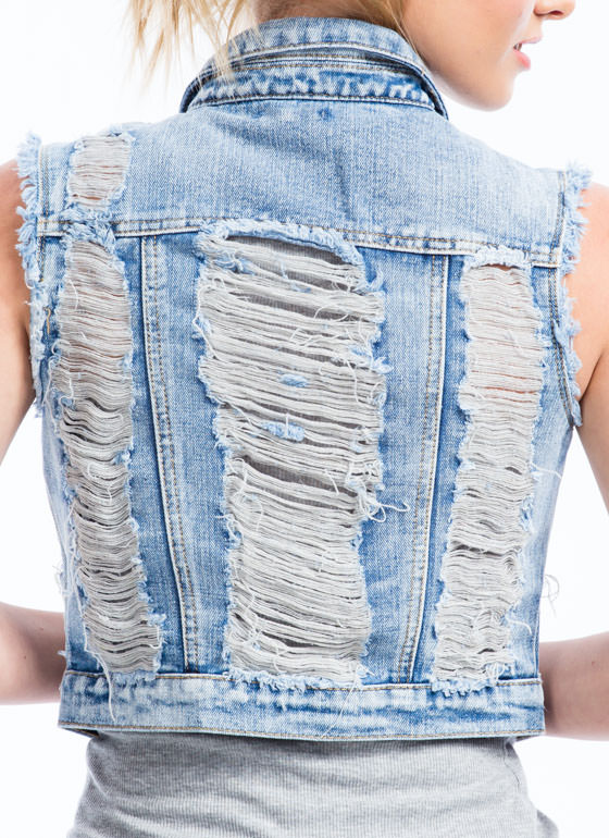 Distressed Out Denim Vest LTBLUE