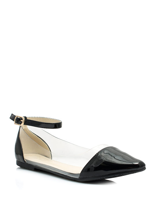 Cap Toe Illusion Flats BLACK