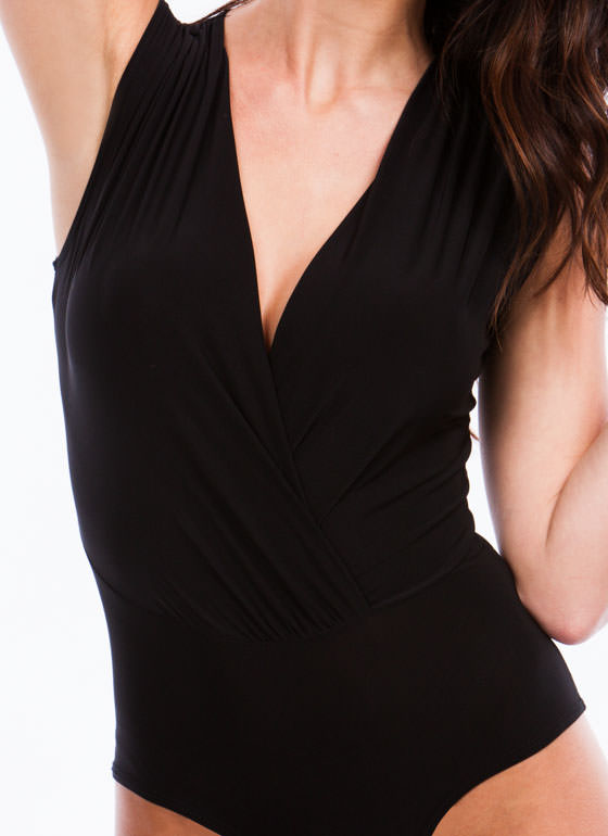 Take You By Surplice Draped Bodysuit BLACK