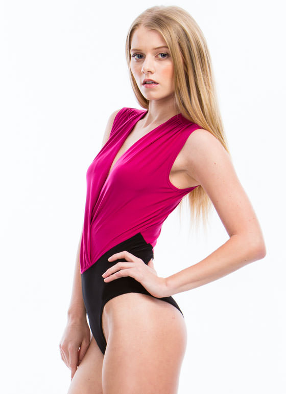 Take You By Surplice Draped Bodysuit FUCHSIA