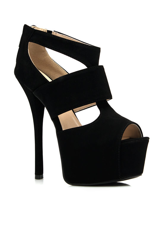 Ladies Night Faux Nubuck Platform Heels BLACK