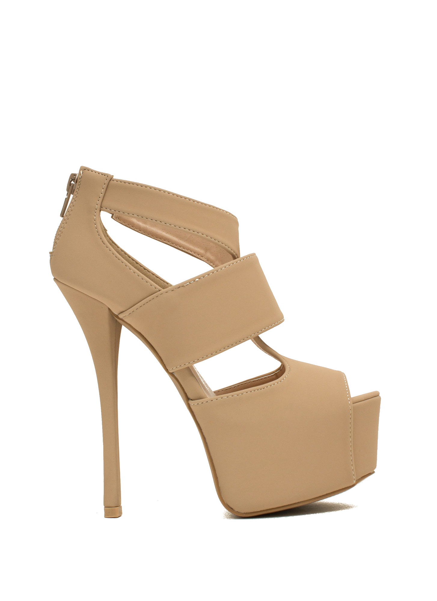 Ladies Night Faux Nubuck Platform Heels NUDE