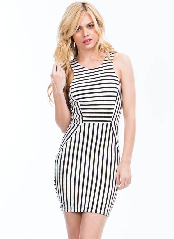 Stripe For Your Right Paneled Dress BLACKWHITE