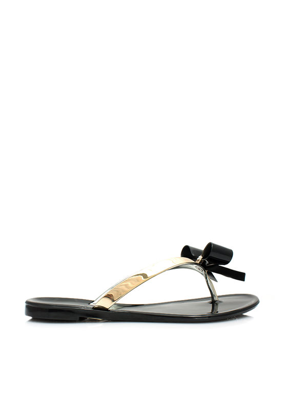 Bow-Dazzled Jelly Thong Sandals BLACK