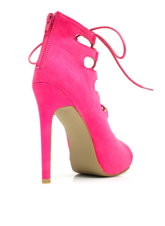 Corset It Off Lace-Up Cut-Out Heels HOTPINK