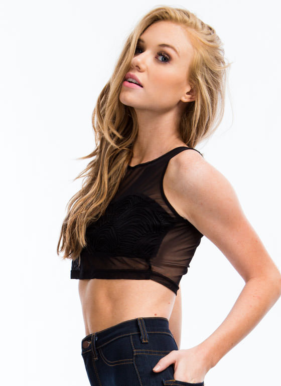 Sheer Wonder Cropped Tank BLACK