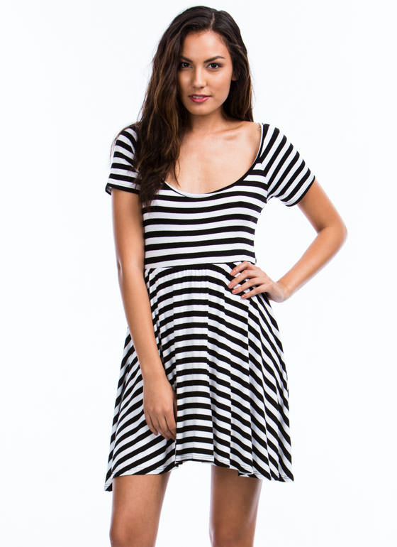 Striped Cross Back Skater Dress BLACKWHITE