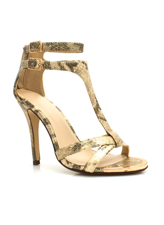 Shine On Snake Stiletto Heels GOLD