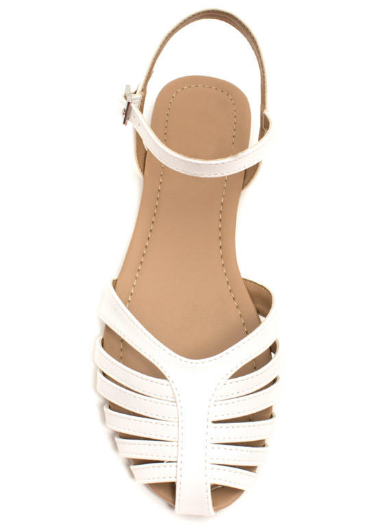 Can't Be Caged Faux Leather Sandals WHITE