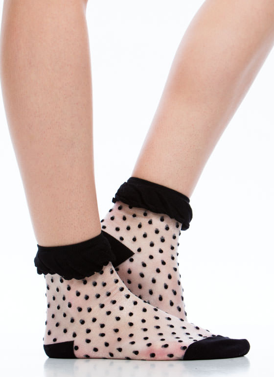 Polka Dot Mesh Socks BLACK