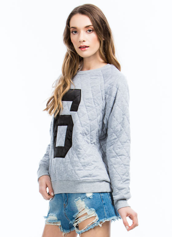 Quilted Number 6 Sweatshirt GREY