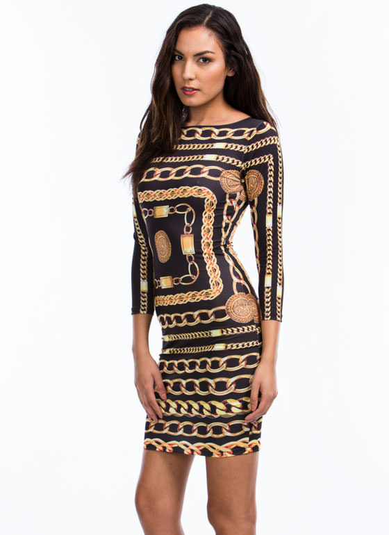 Spare Chain-ge Bodycon Dress BLACKGOLD