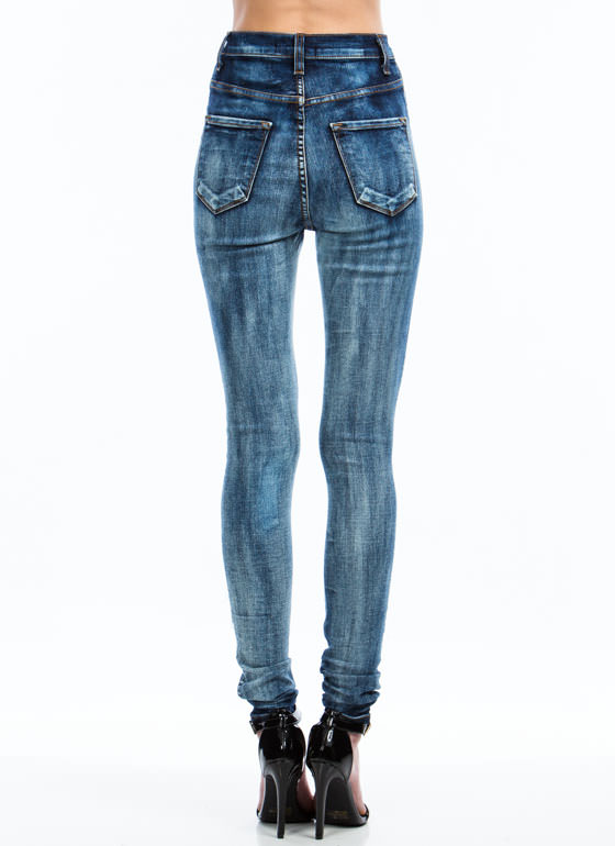 Destroyed Stone Washed Jeans BLUE