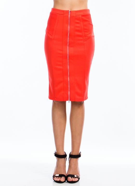 Expose Yourself Midi Skirt ORANGE