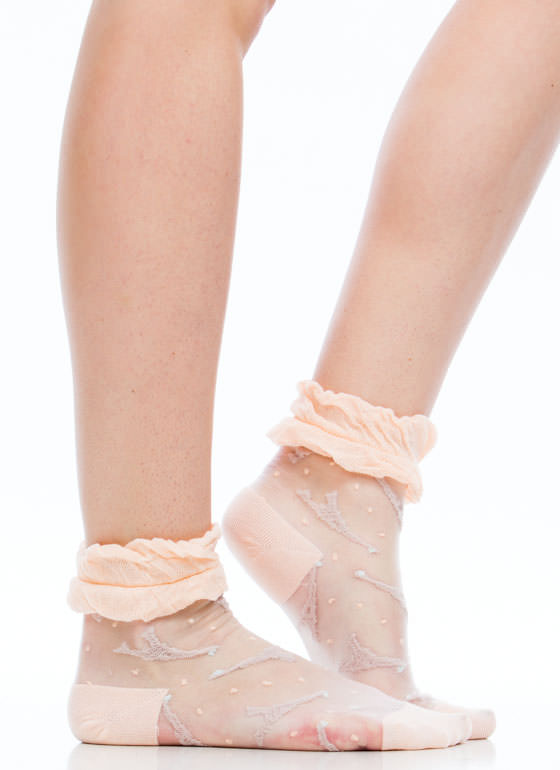 Eiffel Tower Ruffled Sheer Mesh Socks PEACH
