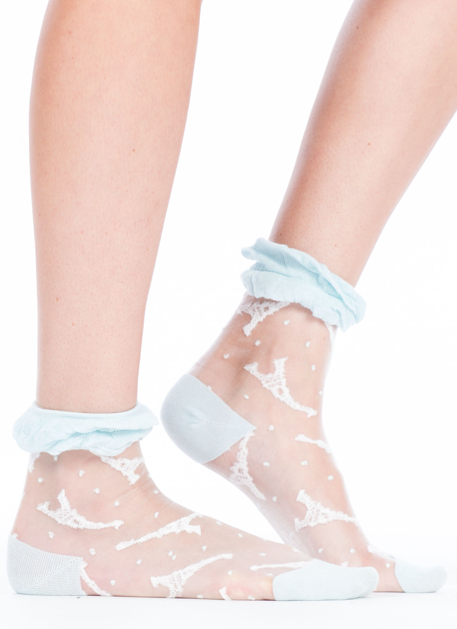 Eiffel Tower Ruffled Sheer Mesh Socks SKYBLUE