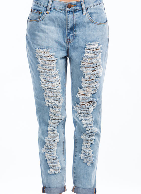 Slashed N Frayed Boyfriend Jeans LTBLUE