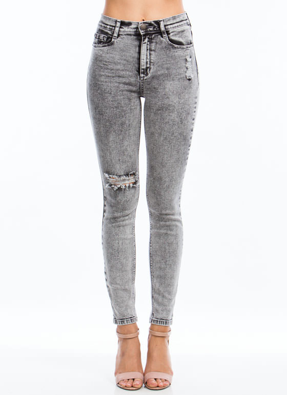 Acid Washed Out Skinny Jeans BLACK