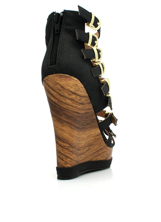 Buckle Down Faux Wood Wedges BLACK