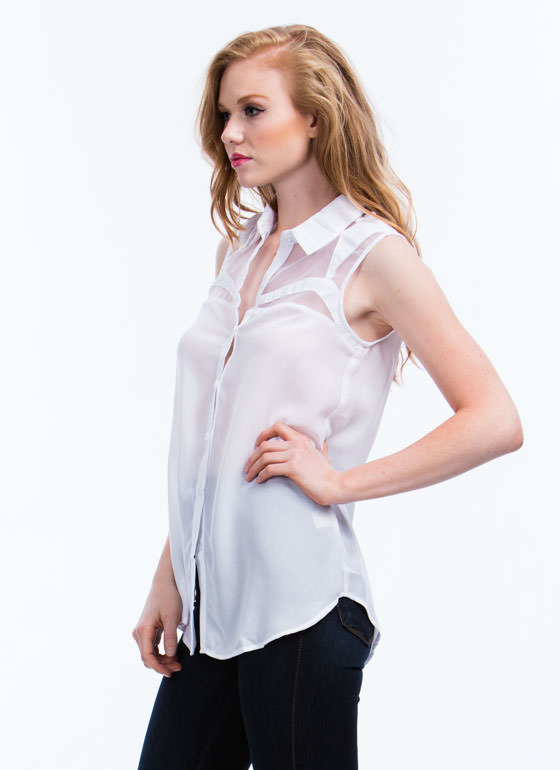 Career Gal Button-Up Top WHITE