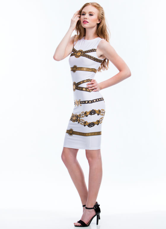 Lion N Sun Metallic Bodycon Dress WHITE