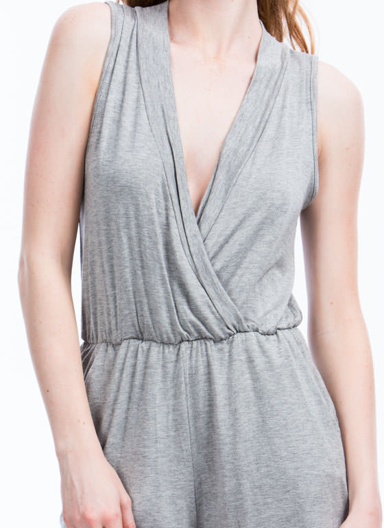 Basic Surplice Romper GREY