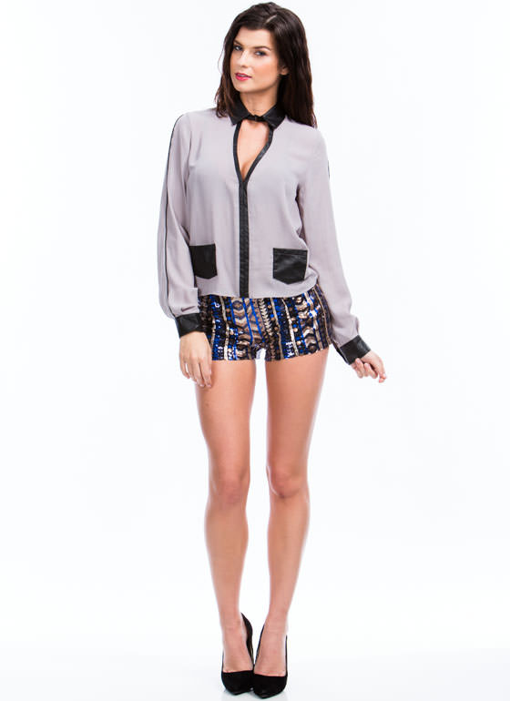 Slick Trim Georgette Blouse GREY