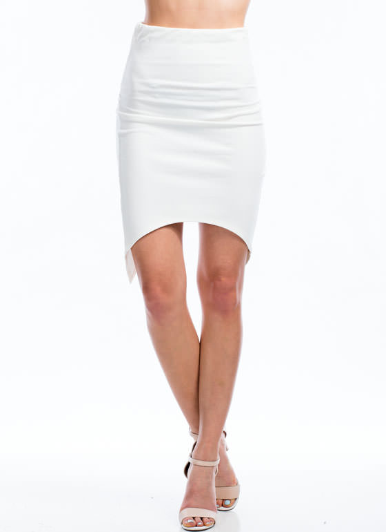 X Factor Surplice Back Pencil Skirt IVORY