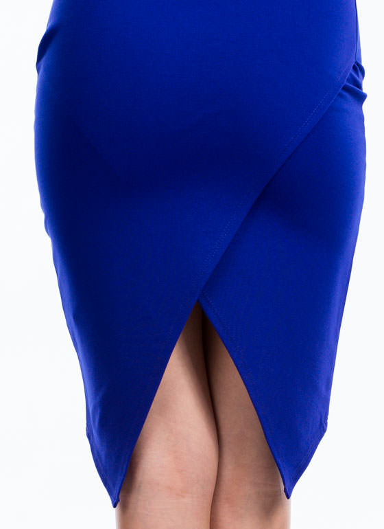 X Factor Surplice Back Pencil Skirt ROYAL