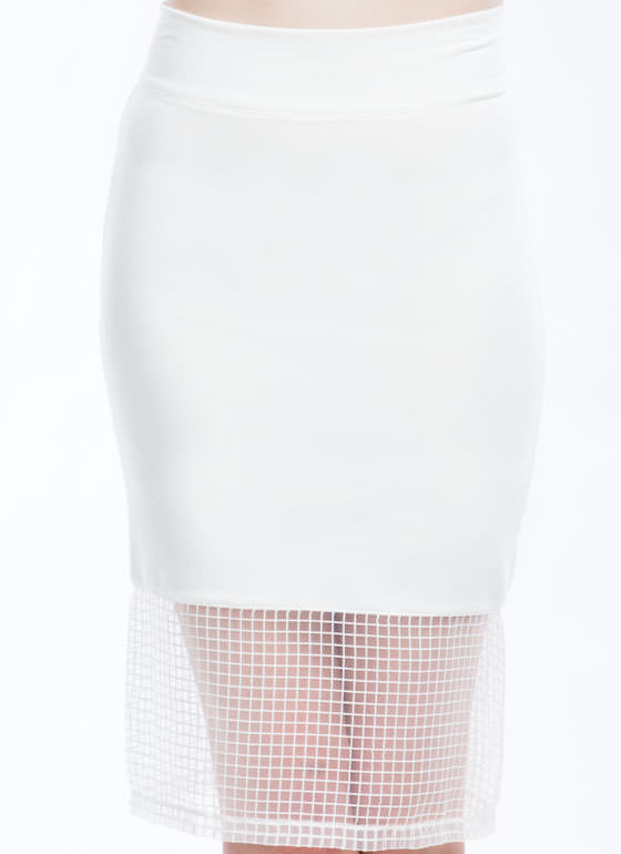 Grid For You Midi Skirt WHITE