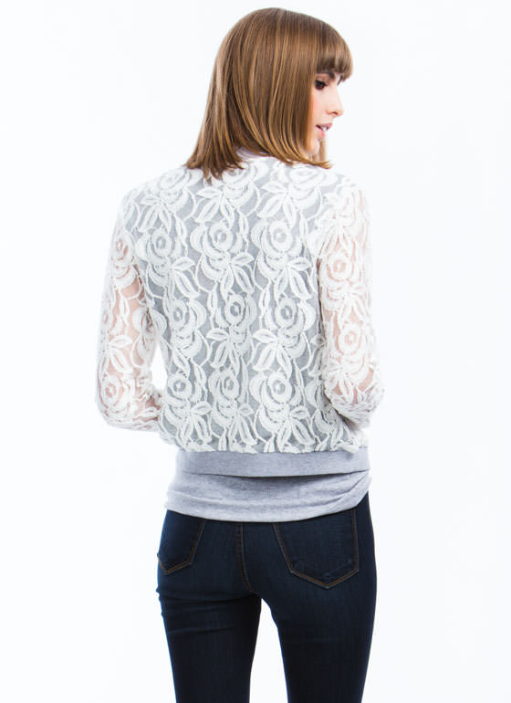 Lace Yourself Bomber Jacket WHITE