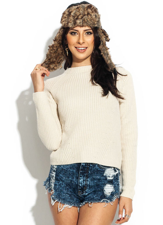 Waffle Stitch Crew Neck Sweater NATURAL