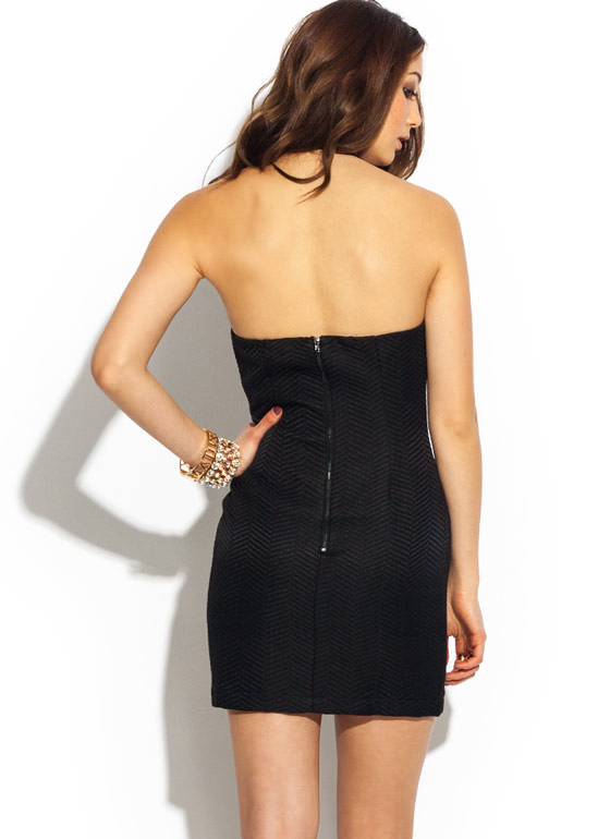 Strappy Herringbone Halter Dress BLACK